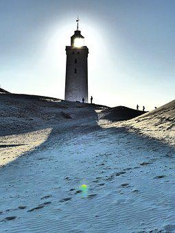 Lighthouse, Lønstrup, Denmark, Light, Sand, Tower