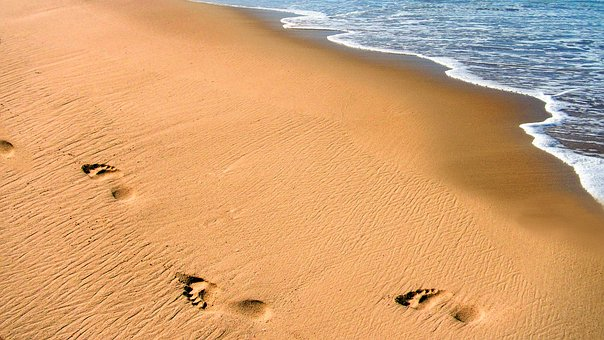 Beach, Sand, Ocean, Footprints, Person, Walking, Sea