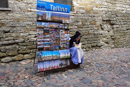 Street, Seller, Girl, Souvenir, Female, Cobblestone