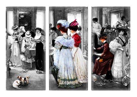 Woman, Women, Shopping, Knitting, Sewing, Embroidery