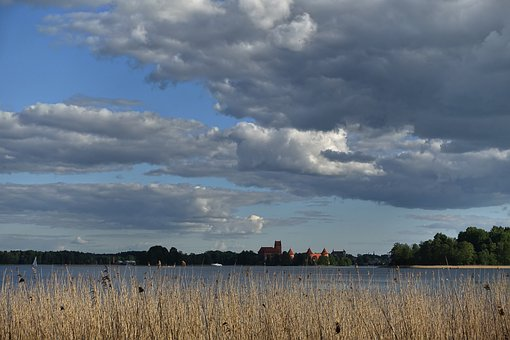 Sky, Reeds, Horizon, Distant, Castle, Fortification