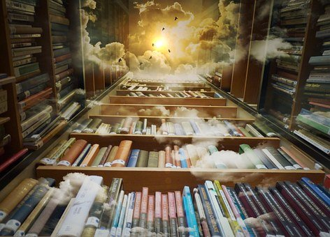 Library, Sky, Birds, Mystical, Clouds, Sun, Fantastic