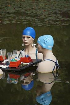 Swim, Swimmers, Water, Pond, Lake, Swim Cap, Women