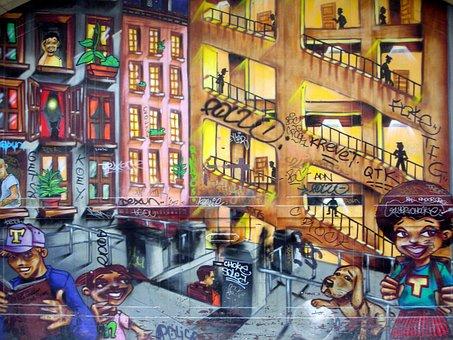 Fresco, Tag, Mural, Painted Walls, Street Art, Graffiti