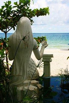 Mermaid, Crystal Ball, Sea, Sand, Thailand, Crystal