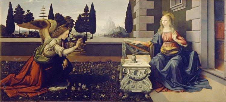 The Annunciation, Leonardo Da Vinci, Virgin Mary