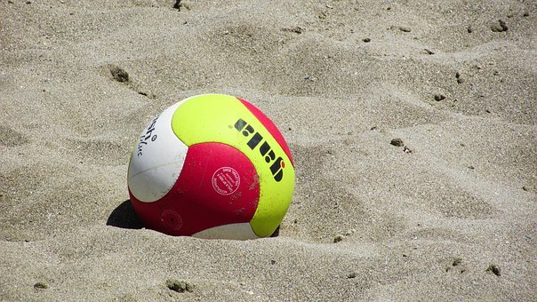 Beach Volley, Volleyball, Ball, Sand, Sport, Volley