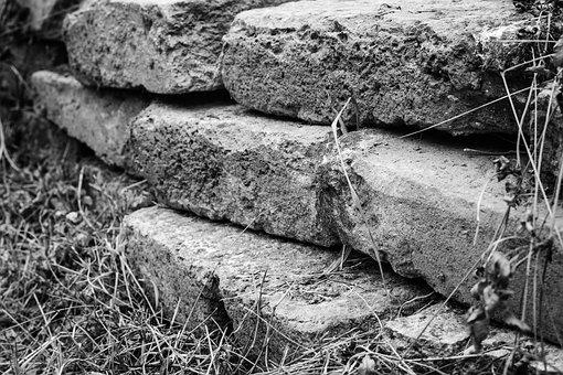 Wall, Bricks, Obstacle, Old, Black And White, Texture