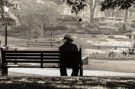 Women, Lady, Old, Hat, Sit, Alone, Abandoned, Bench