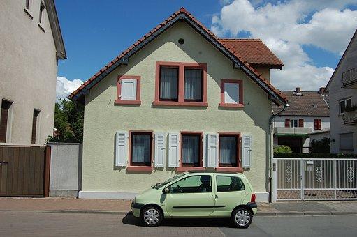 Green, Light Green, Blue, Sky, House, Auto, Farbenspiel
