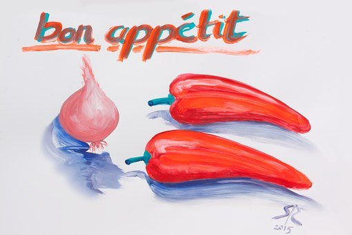 Color Sketch, Scribble, Onion, Pepper, Red, Blue