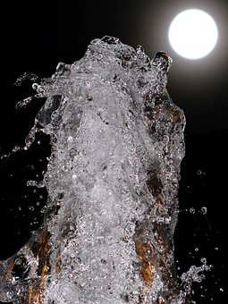 Fountain, Water, Moon, Play, Ball, Light, Reflections