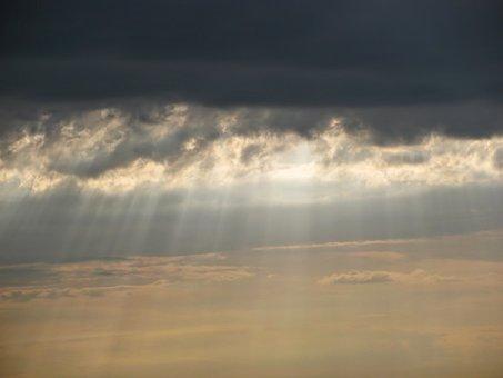 Clouds, Sky, Dramatic, God's Fingers, Light, Sunlight