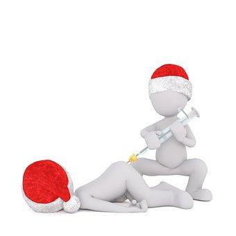 White Male, Isolated, 3d Model, Christmas, Santa Hat