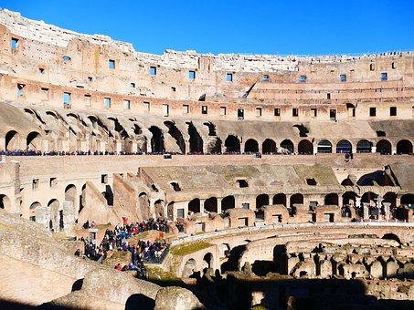 Colosseum, Rome, Amphitheater, Landmark, Building, Old