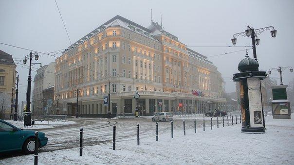 Slovakia, Bratislava, Carlton, Winter, Snow, Lighting