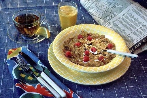 Breakfast, Cereal, Milk, Berries, Orange Juice, Coffee