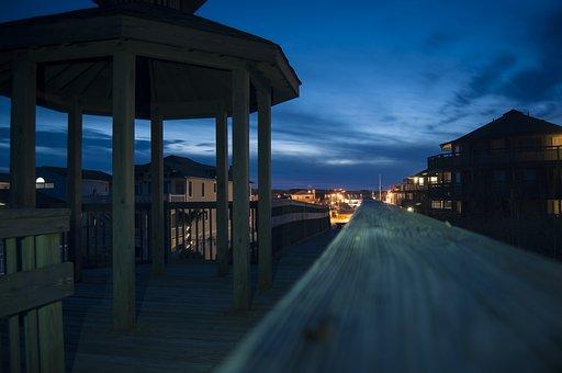 Night Gazebo And Lights, Dusk Ocean Gazebo