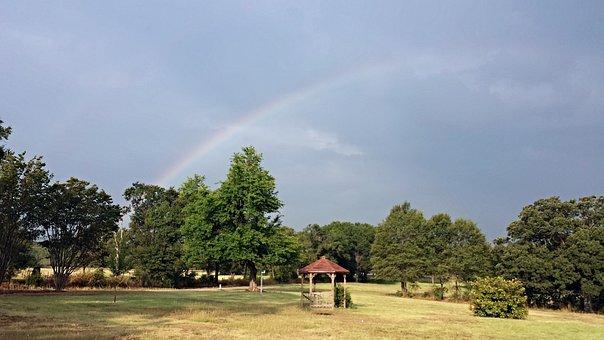 Rainbow, Gazebo, Over Trees, Blue Rainbow