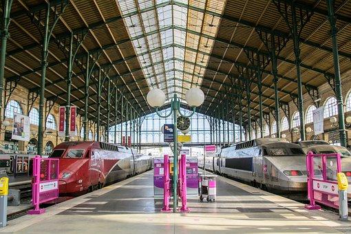 Paris, France, Railway Station, Train, Trains