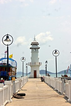 Lighthouse, Pier, Port, Bangbao, Koh Chang