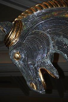 Horse, Mosaic, Tiles, Sculpture, Mirrors, Art