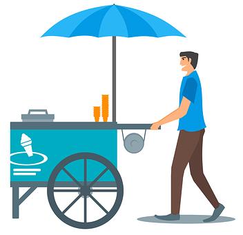 Ice Cream, Cone, Cart, Umbrella, Ice Cream Cone, Sweet
