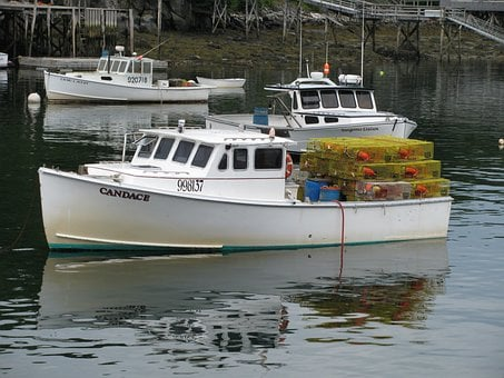 Lobster Boat, Maine Usa, Boat, Lobster, Traps