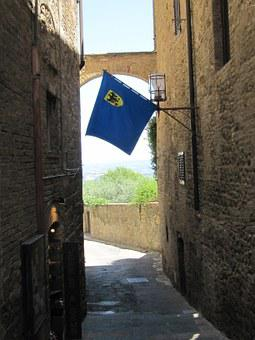 San Gimignano, Alley, Tuscany, Middle Ages