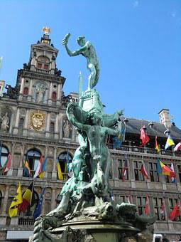 Antwerp, Statue, Brabo, Hand, Monument, Architecture