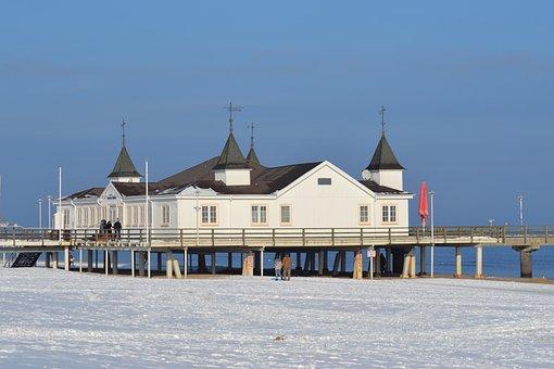 Baltic Sea, Seebad Ahlbeck, Winter, Beach, Sea Bridge