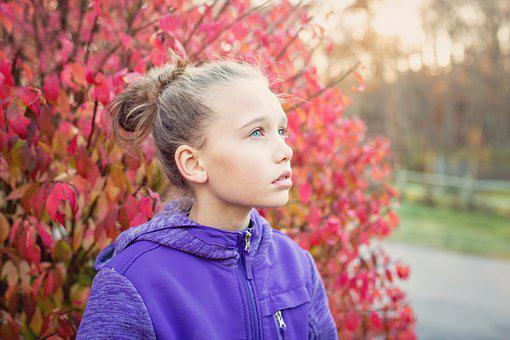 Girl, Fall, Autumn, Face, Blue Eyes, Young, Beauty