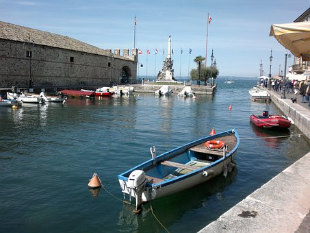 Lazise, Garda, Boats, Powerboat, Boat Harbour, Water