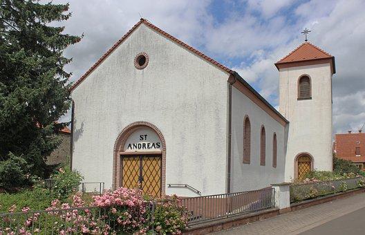 Church, Steeple, Building, Biedesheim, Sky