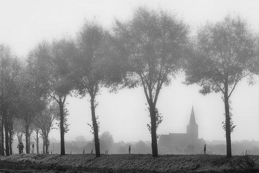 Fog, Niederrhein, Kath, Church St Peter