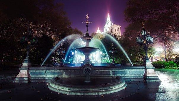 Fountain, City Hall, New York City, Landmark, Historic