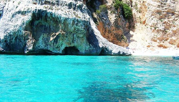 Sardinian Beach, Transparent Water, Sea, Rock