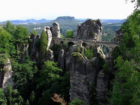 Bastei, Sklaní Bridge, Sandstone, Saxony, českosas