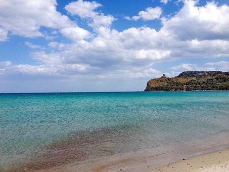 Cagliari, Poetto Beach, Sardinia, Italy, Sea