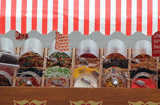 Candy Stand, Leather, Candy, Haribo, Selection