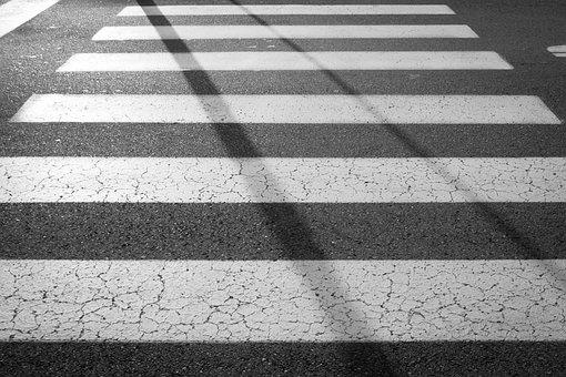 Pedestrian, Zebra, Crossing, Sidewalk, Road, Street