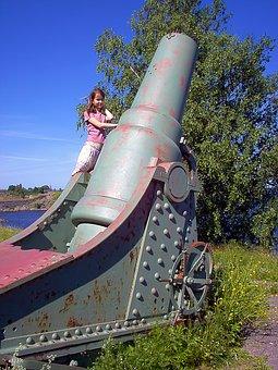 Old, Coastal Cannon, Cannon, Girl, Sunny, Sky, Blue