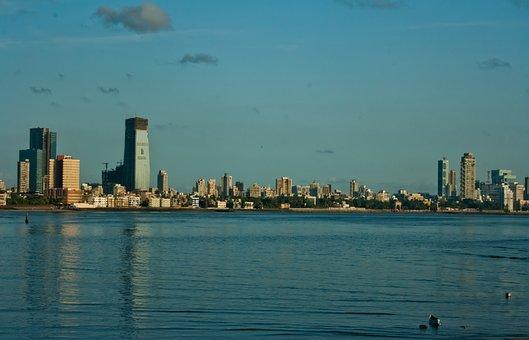Mumbai, Bombay, Skyline, Bay, Ocean, Sea, India, City
