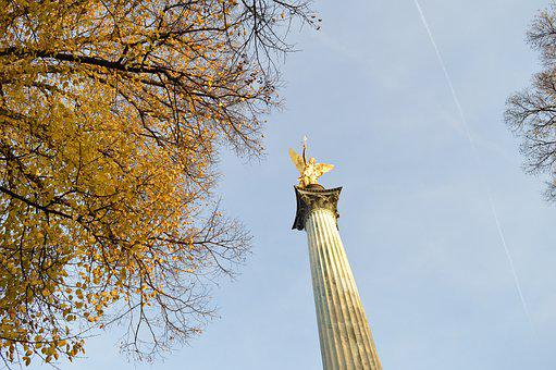 Munich, Angel, Wings, Memorial, Culture, Friedensengel