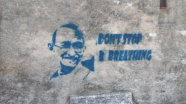 Graffiti, Gandhi, Wall, Do Not Stop, Breathe, Stencil