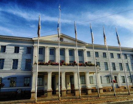 Helsinki, Finland, City Hall, Building, Government, Sky
