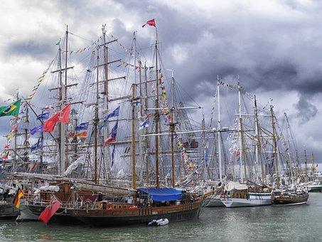 Sailboats, Harbor, Bay, Sky, Clouds, Helsinki, Finland