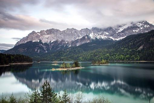 Eibsee, Mountains, Landscape, Forest