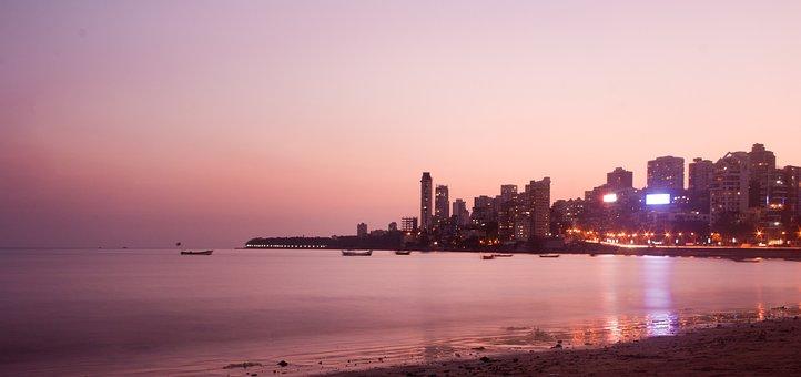 Mumbai, Bombay, Cityscape, Skyline, Sea, Ocean, Bay