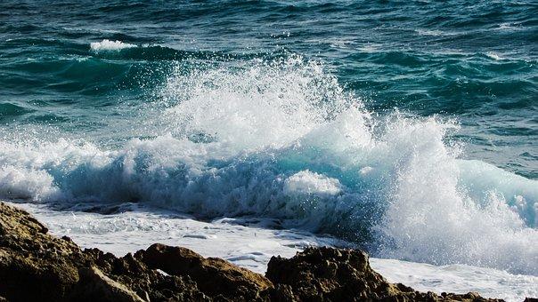 Wave, Smashing, Foam, Spray, Sea, Water, Beach, Nature